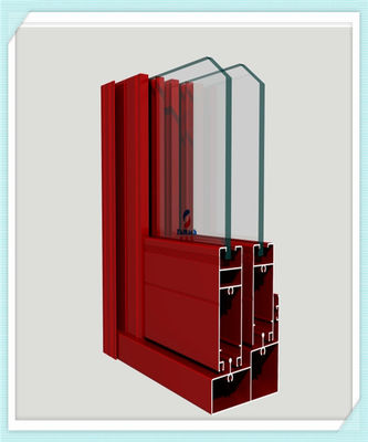 China Lightweight Window Aluminum Profile Corrosion Resistance Red Color Smooth Surface supplier