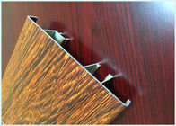 China Flat Open Wood Finish Aluminium Profiles 6005 / 6063 Strong Robustness For Window factory