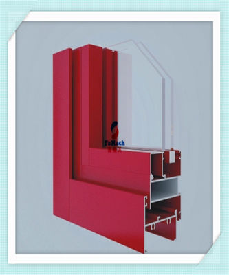 China Anodized Flat Open Window Aluminum Profile For Glass Wall Red Color ISO Certification factory