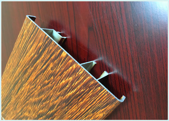 Flat Open Wood Finish Aluminium Profiles 6005 / 6063 Strong Robustness For Window
