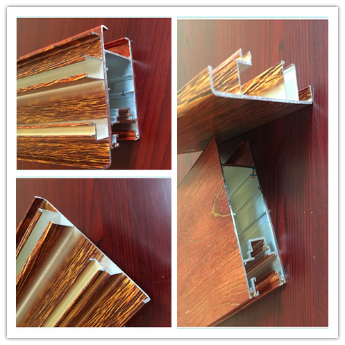 Customized Wood Color Extruded Aluminum Bar For Window / Door Frome Profiles